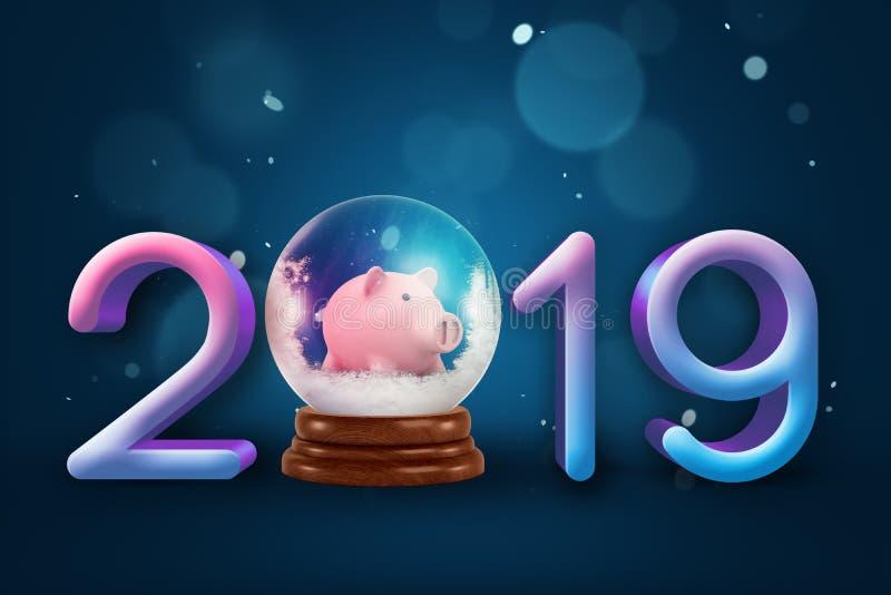 τρισδιάστατη απόδοση των ψηφίων 2019, μια διακοσμητική σφαίρα crystall με λίγη piggy τράπεζα μέσα σε το αντί ενός μηδέ ψηφίου διανυσματική απεικόνιση