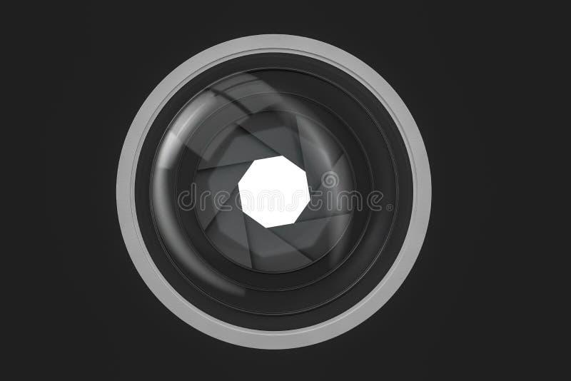 τρισδιάστατη απόδοση, φακός καμερών σε ένα σκοτεινό υπόβαθρο στούντιο απεικόνιση αποθεμάτων