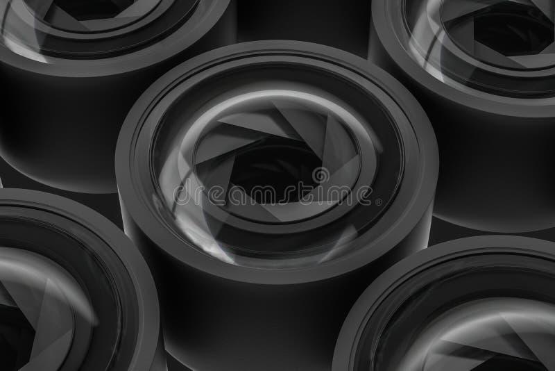 τρισδιάστατη απόδοση, φακός καμερών σε ένα σκοτεινό υπόβαθρο στούντιο ελεύθερη απεικόνιση δικαιώματος