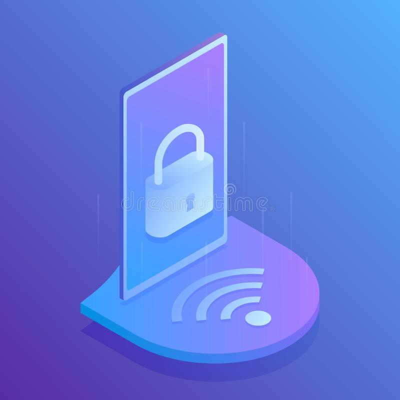 τρισδιάστατη ασφάλεια wifi έννοιας isometric, ασφαλής σύνδεση στο wifi σύγχρονο διάνυσμα απεικό&n ελεύθερη απεικόνιση δικαιώματος