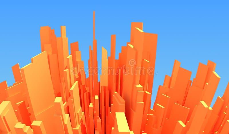 τρισδιάστατη αφηρημένη πόλη διανυσματική απεικόνιση