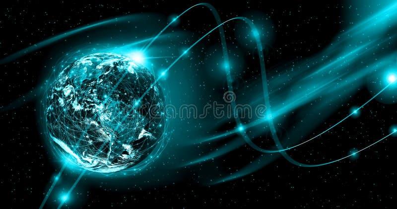 τρισδιάστατη γραμμή γήινων οριζόντων που καθίσταται διαστημική καλύτερη επιχειρησιακής έννοιας σειρά Διαδικτύου χεριών πυράκτωσης στοκ φωτογραφία με δικαίωμα ελεύθερης χρήσης