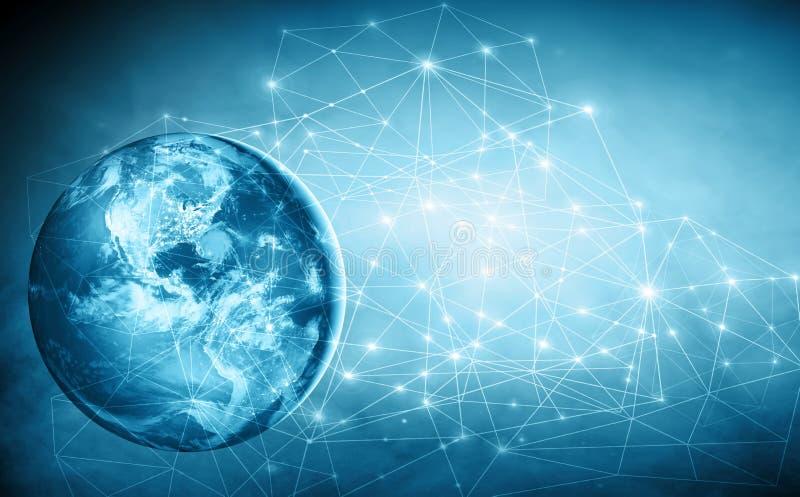 τρισδιάστατη γραμμή γήινων οριζόντων που καθίσταται διαστημική καλύτερη επιχειρησιακής έννοιας σειρά Διαδικτύου χεριών πυράκτωσης ελεύθερη απεικόνιση δικαιώματος