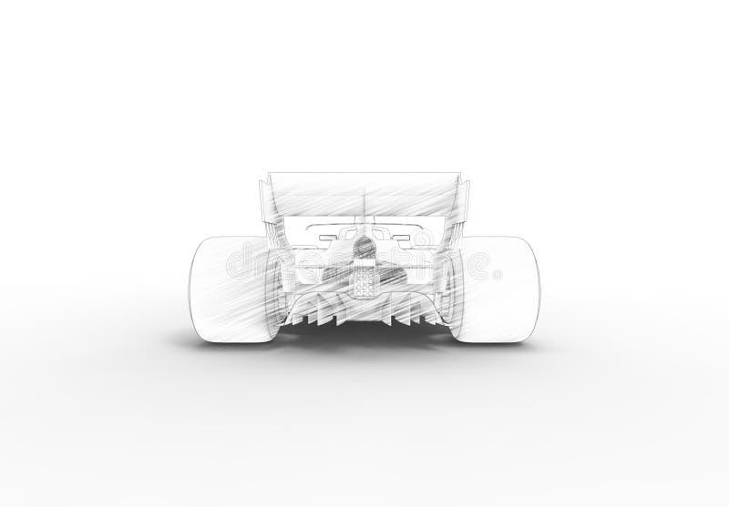 τρισδιάστατη δίνοντας απεικόνιση με ενός σύγχρονου όλο το μαύρο σπορ αυτοκίνητο φυλών απεικόνιση αποθεμάτων