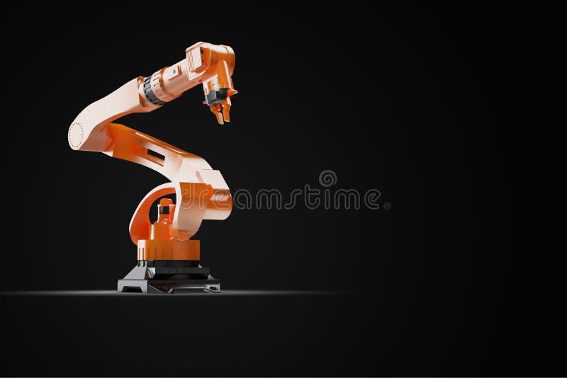 τρισδιάστατη δίνοντας - απεικόνιση των βιομηχανικών ρομπότ συγκόλλησης στο ρομποτικό εργοστάσιο κατασκευαστών γραμμών παραγωγής - ελεύθερη απεικόνιση δικαιώματος