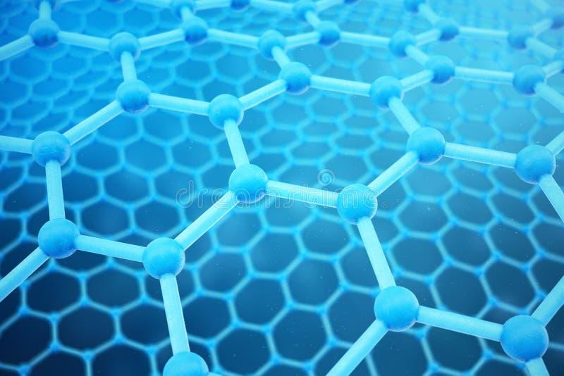 τρισδιάστατη δίνοντας αφηρημένη νανοτεχνολογία εξαγωνική γεωμετρική κινηματογράφηση σε πρώτο πλάνο μορφής Ατομική έννοια δομών Gr διανυσματική απεικόνιση