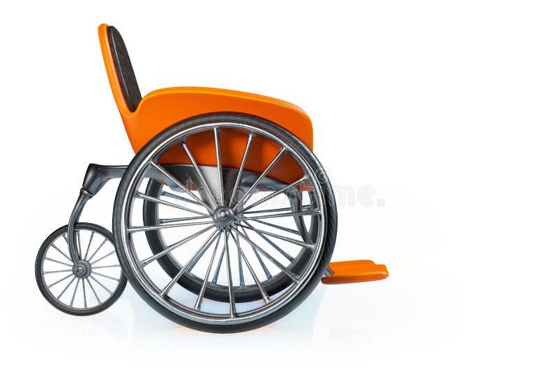 τρισδιάστατη δίνοντας πλάγια όψη της πορτοκαλιάς σύγχρονης αθλητικής αναπηρικής καρέκλας που απομονώνεται στο άσπρο υπόβαθρο, πορ απεικόνιση αποθεμάτων