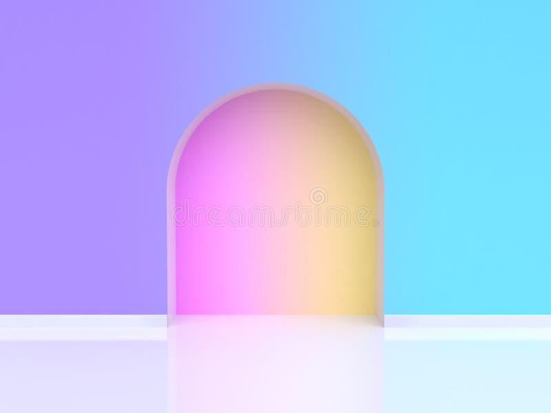 τρισδιάστατη δίνοντας σχηματισμένη αψίδα περίληψη κλίση πορτών ιώδης-πορφυρό μπλε ελεύθερη απεικόνιση δικαιώματος