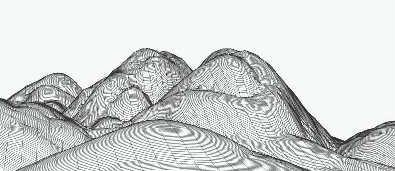 τρισδιάστατη διανυσματική απεικόνιση τεχνολογίας Αφαίρεση Σχέδιο τοπίων των βουνών στοκ φωτογραφία