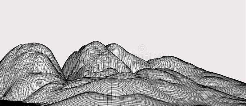 τρισδιάστατη διανυσματική απεικόνιση τεχνολογίας Αφαίρεση Σχέδιο τοπίων των βουνών στοκ εικόνες με δικαίωμα ελεύθερης χρήσης