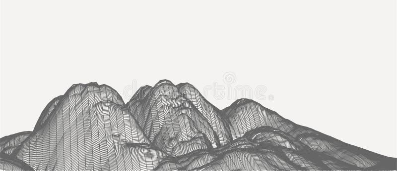 τρισδιάστατη διανυσματική απεικόνιση τεχνολογίας Αφαίρεση Σχέδιο τοπίων των βουνών στοκ φωτογραφίες με δικαίωμα ελεύθερης χρήσης