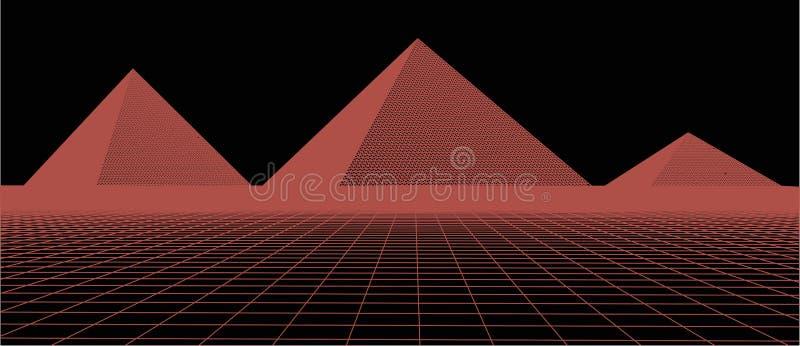 τρισδιάστατη διανυσματική απεικόνιση τεχνολογίας Αφαίρεση Σχέδιο τοπίων των πυραμίδων στοκ φωτογραφίες