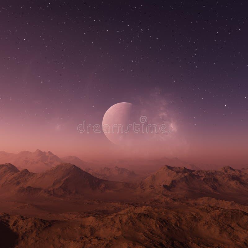 τρισδιάστατη διαστημική τέχνη: Αλλοδαπός πλανήτης - ένα τοπίο φαντασίας με τους πορφυρούς ουρανούς και τα αστέρια διανυσματική απεικόνιση