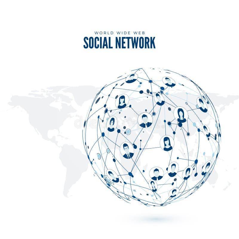 τρισδιάστατη εικόνα δικτύων που καθίσταται κοινωνική ευρύς κόσμος Ιστού Διανυσματική απεικόνιση στο γήινο χάρτη απεικόνιση αποθεμάτων