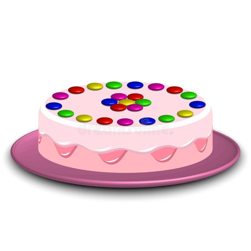 τρισδιάστατη εικόνα ενός κέικ που διακοσμείται με την καραμέλα confectionery ελεύθερη απεικόνιση δικαιώματος