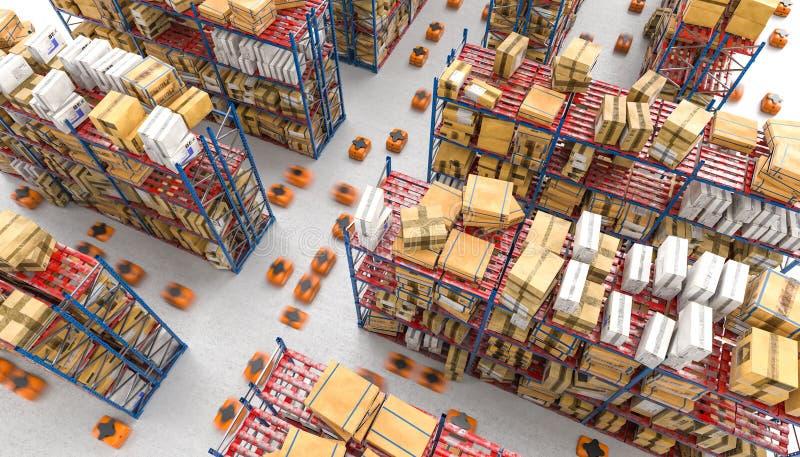 τρισδιάστατη εικόνα μιας σύγχρονης αυτοματοποιημένης αποθήκης εμπορευμάτων με τους κηφήνες ελεύθερη απεικόνιση δικαιώματος