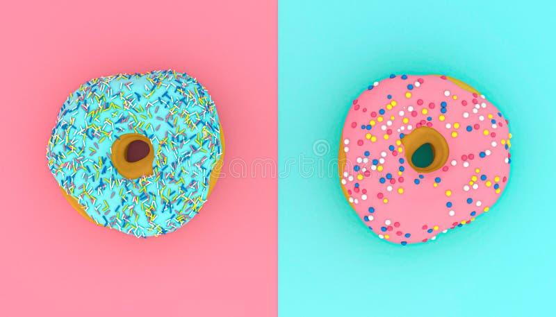 τρισδιάστατη εικόνα των donuts στο ρόδινο και ανοικτό μπλε υπόβαθρο στοκ εικόνες με δικαίωμα ελεύθερης χρήσης