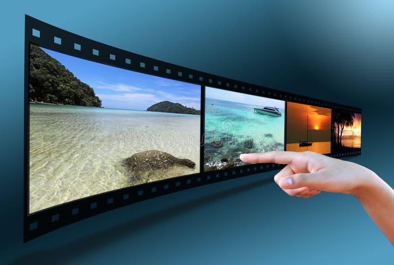 τρισδιάστατη εικόνα χεριών ταινιών που δείχνει τη λουρίδα στοκ εικόνες