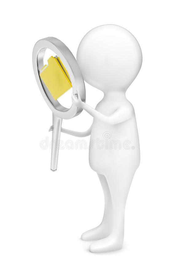 τρισδιάστατη εκμετάλλευση ατόμων πιό magnifier από τα χέρια του με έναν φάκελλο αρχείων σε το γ ελεύθερη απεικόνιση δικαιώματος
