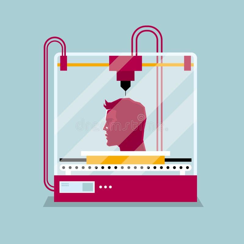 τρισδιάστατη εκτύπωση ένα ανθρώπινο κεφάλι, η έννοια της σχηματοποίησης μιας μορφής ελεύθερη απεικόνιση δικαιώματος