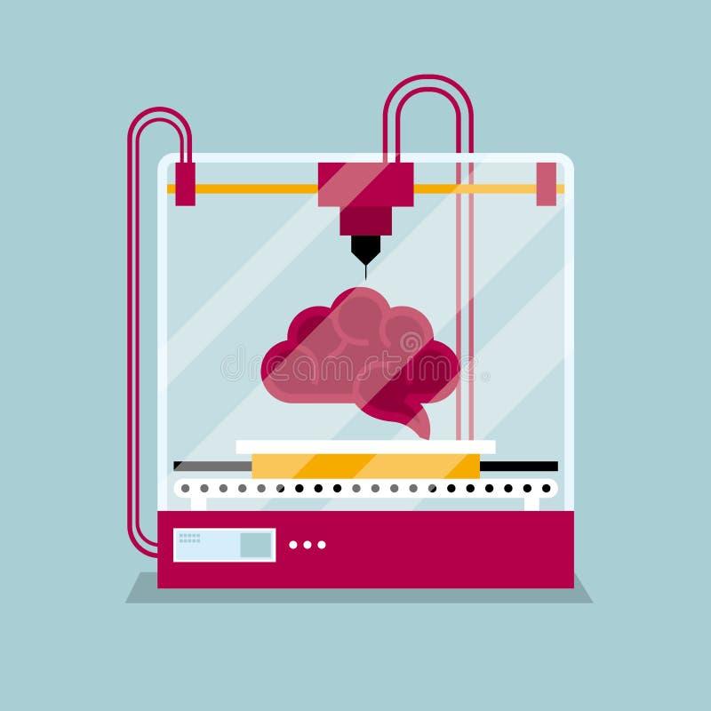 τρισδιάστατη εκτύπωση ένα πρότυπο εγκεφάλου, η έννοια της σχηματοποίησης μιας μορφής διανυσματική απεικόνιση