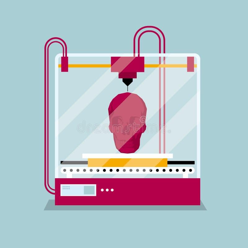 τρισδιάστατη εκτύπωση ένα πρότυπο κρανίων, η έννοια της σχηματοποίησης μιας μορφής διανυσματική απεικόνιση