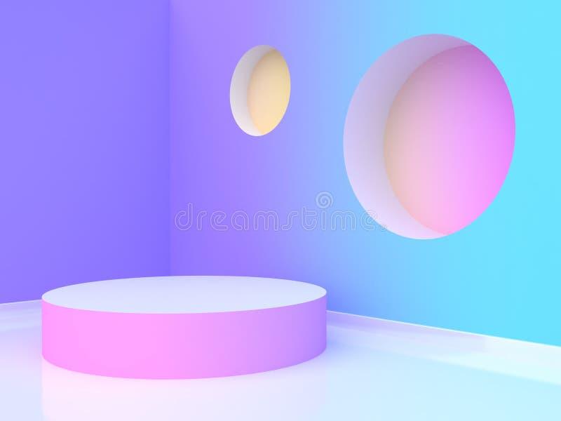 τρισδιάστατη εξέδρα κύκλων απόδοσης κενή αφηρημένο ιώδης-πορφυρό μπλε κίτρινο ρόδινο τοίχος-δωμάτιο κλίσης απεικόνιση αποθεμάτων