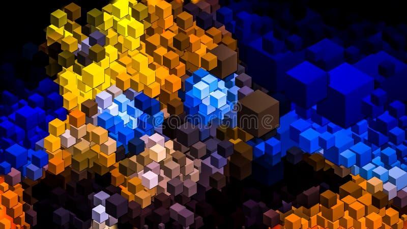 τρισδιάστατη ζωηρόχρωμη ταπετσαρία κύβων διανυσματική απεικόνιση