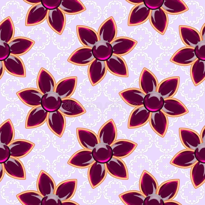 τρισδιάστατη κανονική σύσταση με τα κόκκινα λουλούδια γυαλιού Κόσμημα στο ρόδινο υπόβαθρο μπακαράδων διανυσματική απεικόνιση