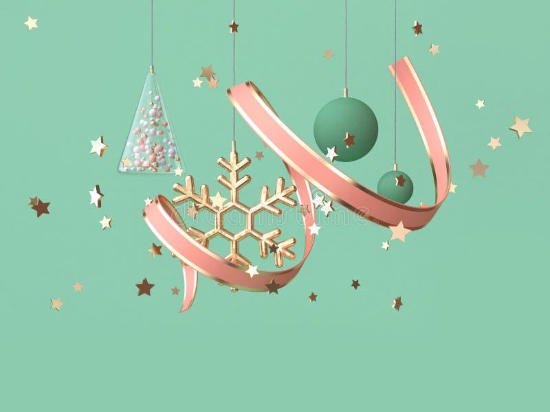 τρισδιάστατη κορδέλλα σπειρών απόδοσης αφηρημένη ρόδινη πολλοί να επιπλεύσει διακοσμήσεων αντικειμένου έννοια Χριστουγέννων απεικόνιση αποθεμάτων
