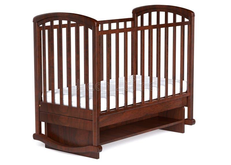 τρισδιάστατη κούνια μωρών απεικόνισης ξύλινη που απομονώνεται απεικόνιση αποθεμάτων