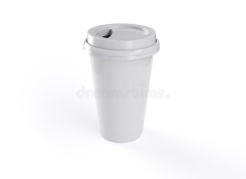 τρισδιάστατη κούπα καφέ απόδοσης με το άσπρο υπόβαθρο διανυσματική απεικόνιση