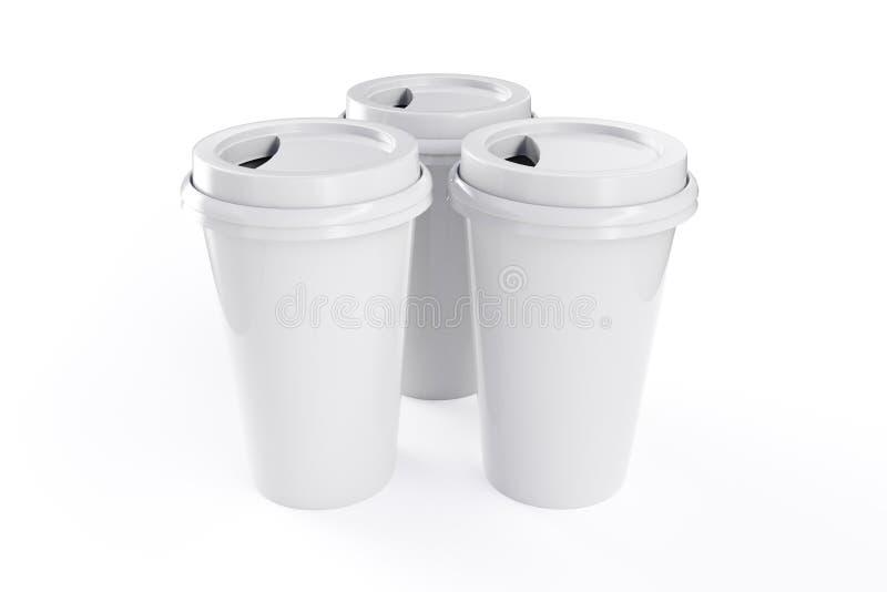 τρισδιάστατη κούπα καφέ απόδοσης με το άσπρο υπόβαθρο απεικόνιση αποθεμάτων