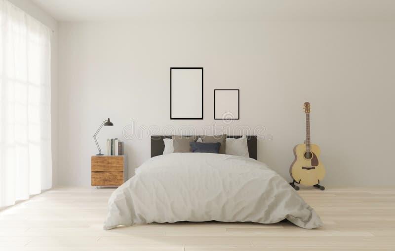 τρισδιάστατη κρεβατοκάμαρα ύφους σοφιτών απόδοσης με τον άσπρο τοίχο, ξύλινο πάτωμα, μεγάλο παράθυρο, κιθάρα, πλαίσιο για τη χλεύ ελεύθερη απεικόνιση δικαιώματος