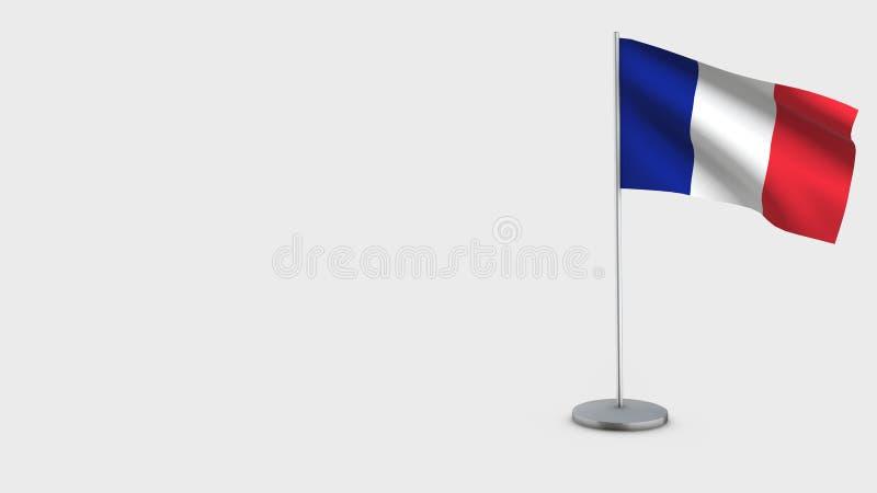 Τρισδιάστατη κυματίζοντας απεικόνιση σημαιών της Γαλλίας ελεύθερη απεικόνιση δικαιώματος