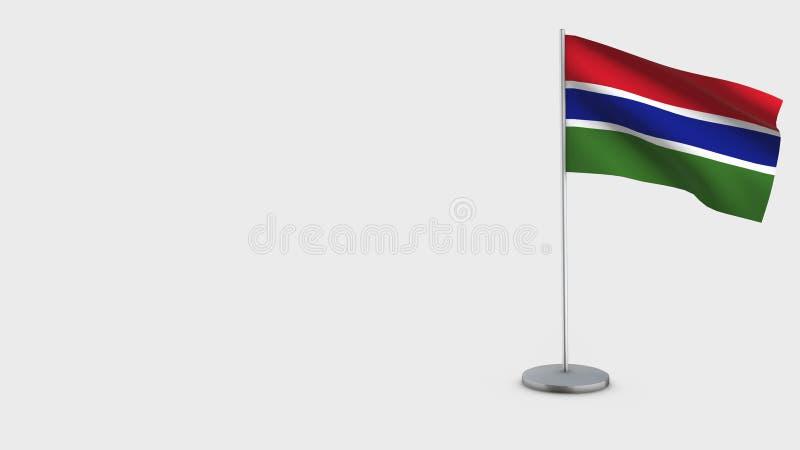 Τρισδιάστατη κυματίζοντας απεικόνιση σημαιών της Γκάμπιας απεικόνιση αποθεμάτων