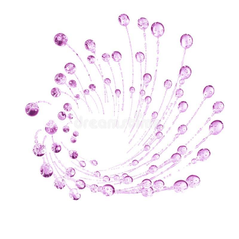 τρισδιάστατη λεπτομερής απεικόνιση μιας πτώσης του ρόδινου χρώματος νερού απεικόνιση αποθεμάτων