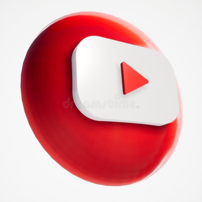 τρισδιάστατη μορφή εικονιδίων κουμπιών Youtube ελεύθερη απεικόνιση δικαιώματος