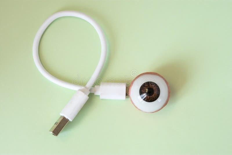 τρισδιάστατη μορφή της σφαίρας ματιών με συνδεμένος με τη χρέωση του σκοινιού, καλώδιο ή για τη σύνδεση με άλλες συσκευές Έννοια  στοκ φωτογραφία με δικαίωμα ελεύθερης χρήσης