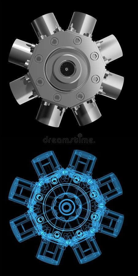 τρισδιάστατη μπλε rotarry ακτίν&alp ελεύθερη απεικόνιση δικαιώματος