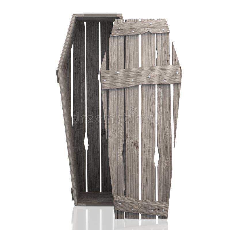 τρισδιάστατη ξύλινη κασετίνα φέρετρων που απομονώνεται στο άσπρο υπόβαθρο απεικόνιση αποθεμάτων