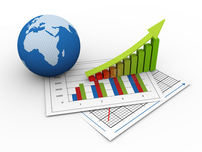 τρισδιάστατη οικονομική σφαιρική ανάπτυξη ελεύθερη απεικόνιση δικαιώματος