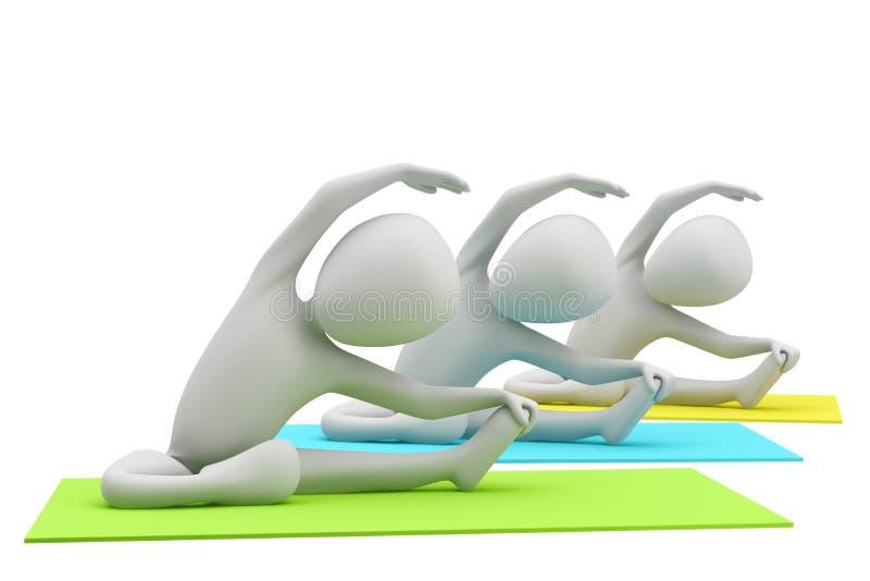 τρισδιάστατη ομάδα ανθρώπων που κάνει τις ασκήσεις γιόγκας. τρισδιάστατη εικόνα. απεικόνιση αποθεμάτων
