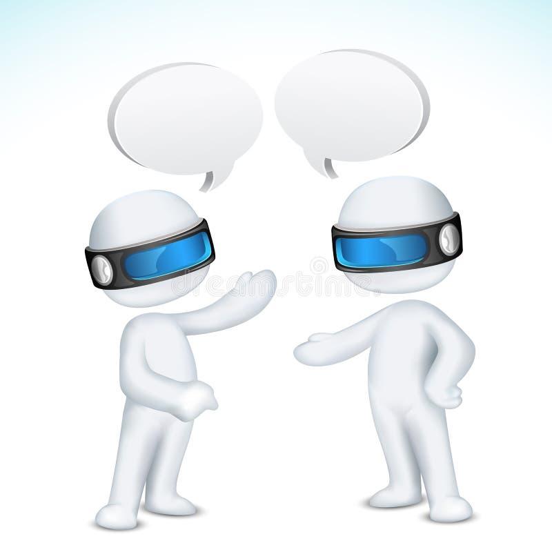 τρισδιάστατη ομιλία ατόμων διανυσματική απεικόνιση
