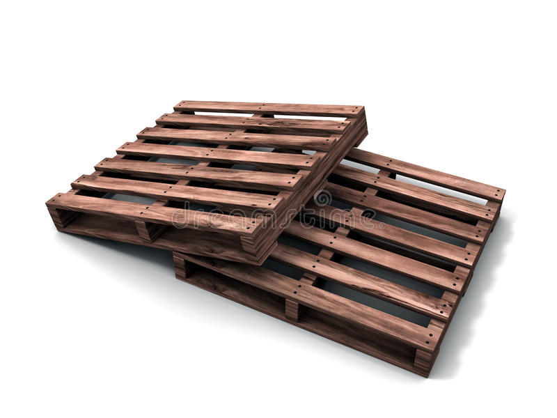 τρισδιάστατη παλέτα ξύλινη ελεύθερη απεικόνιση δικαιώματος