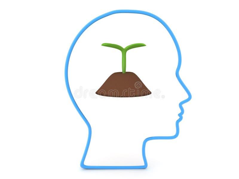 τρισδιάστατη περίληψη του κεφαλιού με την ανάπτυξη σποροφύτων εγκαταστάσεων στο χώμα διανυσματική απεικόνιση