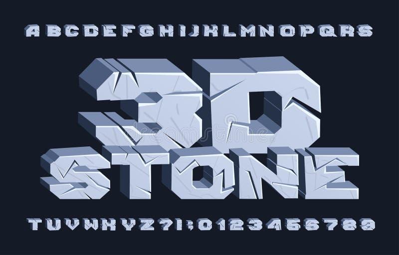 τρισδιάστατη πηγή αλφάβητου πετρών Ραγισμένοι επιστολές και αριθμοί διανυσματική απεικόνιση