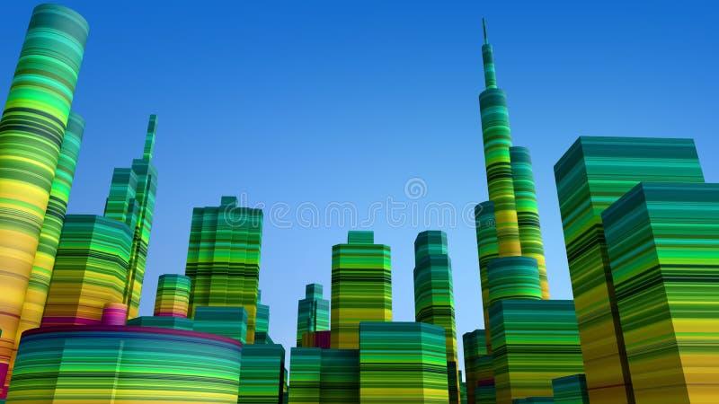 τρισδιάστατη πόλη έγχρωμη απεικόνιση αποθεμάτων