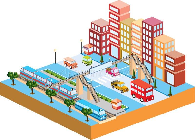 τρισδιάστατη πόλη διανυσματική απεικόνιση