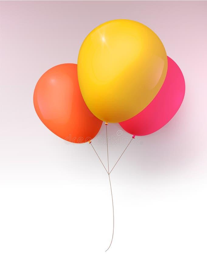 τρισδιάστατη ρεαλιστική ζωηρόχρωμη δέσμη των μπαλονιών γενεθλίων που πετούν για το κόμμα και τους εορτασμούς με το διάστημα για τ διανυσματική απεικόνιση